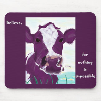 Purple Cow Quite Possibly Contemplating Flight Mouse Pad