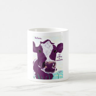 Purple Cow Quite Possibly Contemplating Flight Classic White Coffee Mug