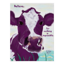 Purple Cow Quite Possibly Contemplating Flight Poster