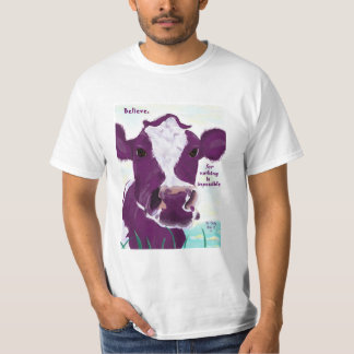 Purple Cow Quite Possibly Contemplating Flight Tee Shirt