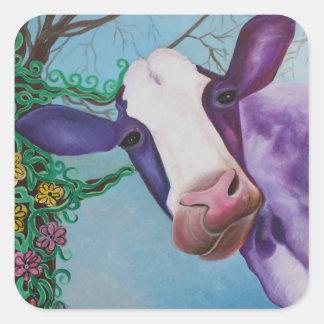 Purple Cow Square Sticker