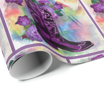 Purple Cowboy Boot With Roses on Watercolor Wrapping Paper