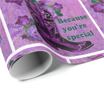 Purple Cowboy Boot With Roses You're Special Wrapping Paper