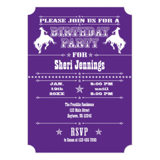 Purple Cowboy Rodeo Birthday Party Invitation