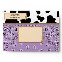 Purple Cowgirl, Bandana Style A7 Envelopes