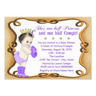 Purple Cowgirl Princess Baby Shower 4.5x6.25 Paper Invitation Card