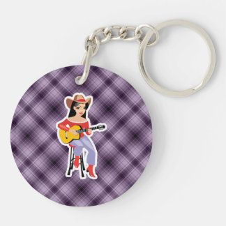 Purple Cowgirl with Guitar Double-Sided Round Acrylic Keychain