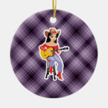 Purple Cowgirl with Guitar Christmas Tree Ornaments