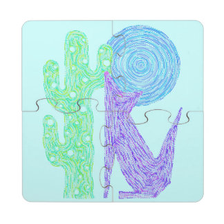 Purple Coyote Wolf Colorful Southwestern Design Puzzle Coaster