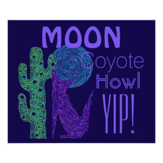 Purple Coyote Wolf Colorful Southwestern Design Poster