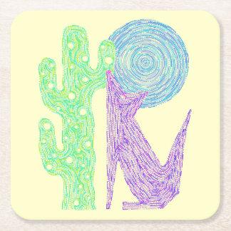 Purple Coyote Wolf Colorful Southwestern Design Square Paper Coaster