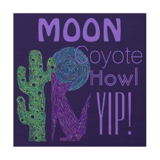 Purple Coyote Wolf Colorful Southwestern Design Wood Wall Art