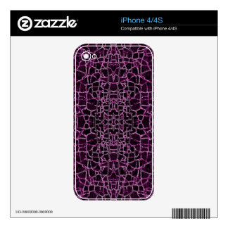 Purple Cracked Pattern Decals For The iPhone 4