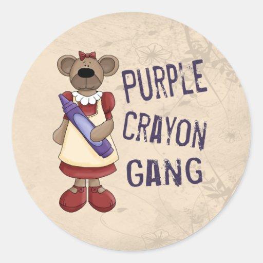 Purple Crayon Gang Classic Round Sticker
