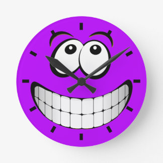 Purple Crazy Eyes Smiley Face Round Clock