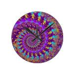 Purple Crazy Fractal Round Wallclocks