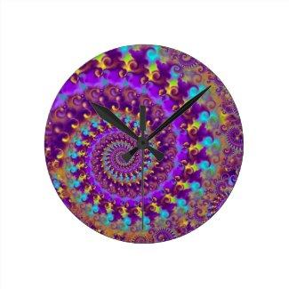Purple Crazy Fractal Wallclock