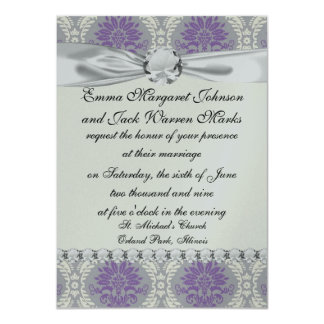 purple cream and gray royale damask card