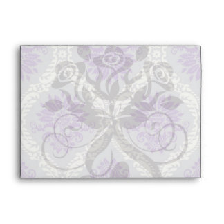 purple cream and gray royale damask envelope