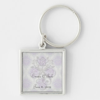 purple cream and gray royale damask keychain