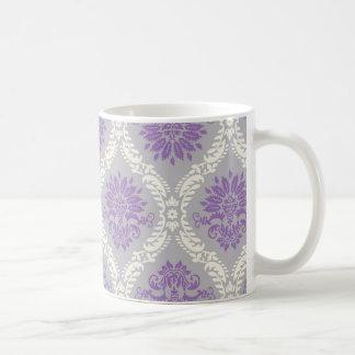 purple cream and gray royale damask coffee mugs