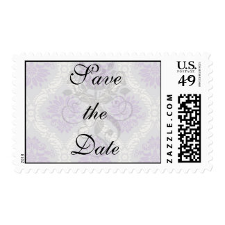 purple cream and gray royale damask postage stamp