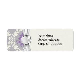 purple cream and gray royale damask return address label