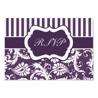 Purple, Cream, and Pink Stripe Damask Reply Card