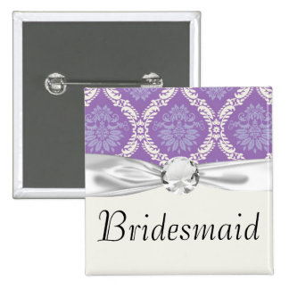 purple cream damask pattern pinback button