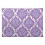 purple cream damask pattern cloth place mat