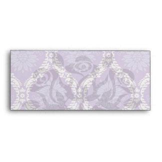 purple cream damask pattern envelopes