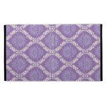purple cream damask pattern iPad cases
