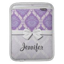 purple cream damask pattern iPad sleeve