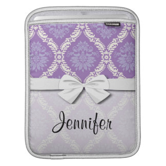 purple cream damask pattern iPad sleeve