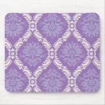 purple cream damask pattern mousepad