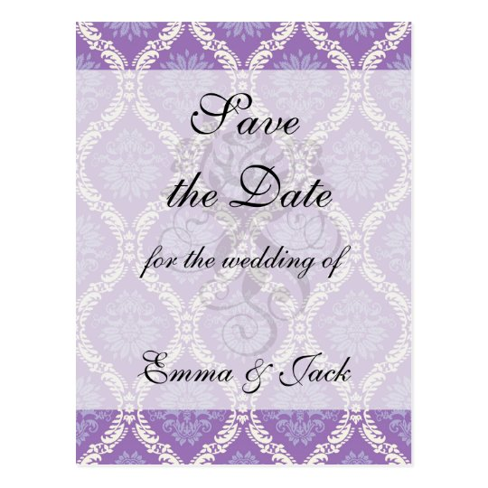 purple cream damask pattern postcard