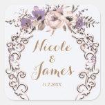 Purple Cream Elegant Botanical Floral Wedding Square Sticker