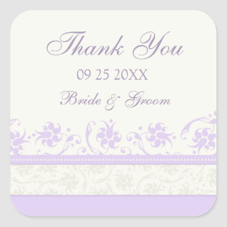 Purple Cream Floral Thank You Wedding Favor Tags