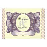 Purple & Cream Ornate Vintage Wedding Invitation