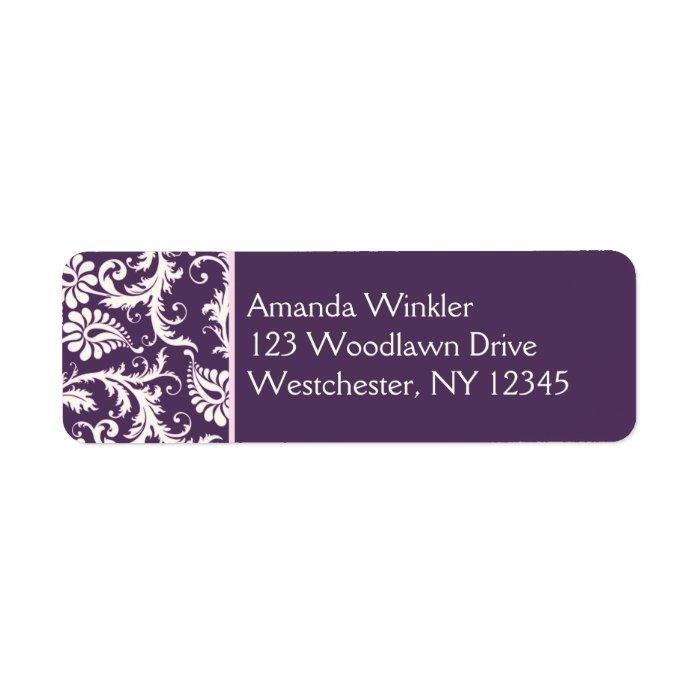 Purple, Cream, Pink Return Address Label
