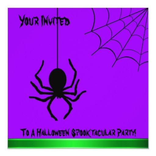 Purple Creepy Spider Halloween Party Invitation