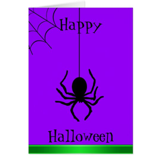 Purple Creepy Spider Happy Halloween Card