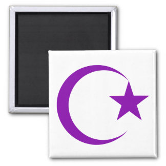 Purple Crescent & Star.png 2 Inch Square Magnet