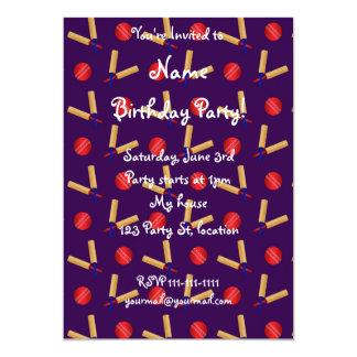 purple cricket pattern 5x7 paper invitation card