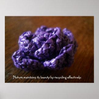 Purple Crochet Rose Poster