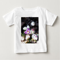 Purple Crocus and Floral Easter Eggs Baby T-Shirt