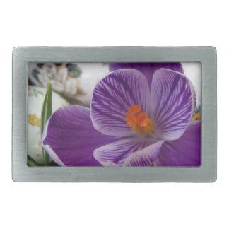 Purple Crocus and Floral Easter Eggs Rectangular Belt Buckles