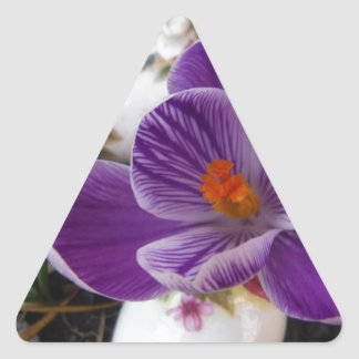 Purple Crocus and Floral Easter Eggs Triangle Sticker