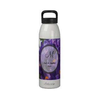 Purple Crocus Flower Monogram Drinking Bottle
