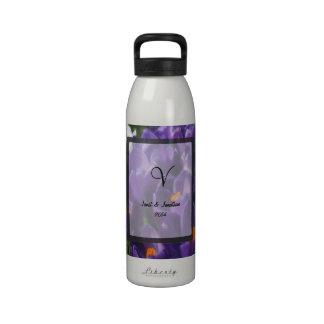 Purple Crocus Flower Monogram Drinking Bottles